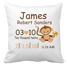 Personalized Custom Cushion Cover Throw Pillow For New Baby Boy with Cheeky Monkey Design