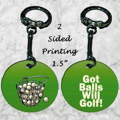Personalized Key Chain Ring Dad Brother Uncle Gift Got Balls Will Golf Golfer