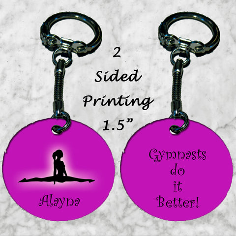 Personalized Key Chain Ring Gymnasts do it better Any name Girls Christmas Gift