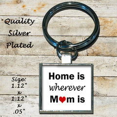 Personalized Silver Plated Key Chain Home Is Wherever Mom Is Love Heart