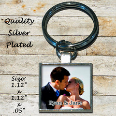 Personalized Silver Plated Key Chain Wedding Engagement Couple Photo Picture Love Family