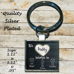 Personalized Silver Plated Key Chain Dad This Daddy Belongs to your kid's names Gift Father's Day