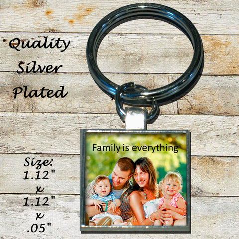 Personalized Silver Plated Key Chain Family is everything Portrait Photo Picture
