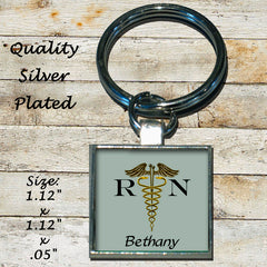 Personalized Silver Plated Key Chain Qualified Registered Nurse RN Gift