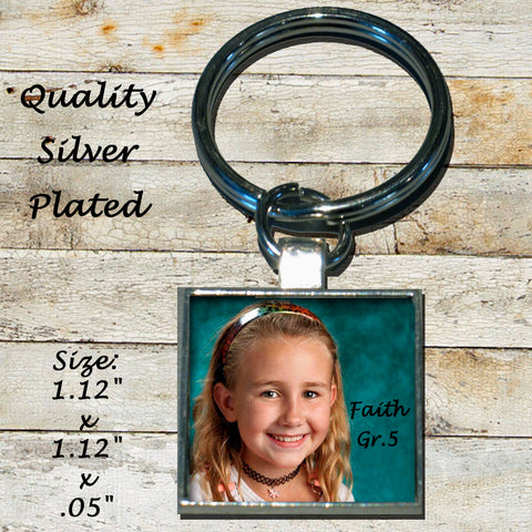 Personalized Silver Plated Keychain Key Ring Class Picture Graduation Photo