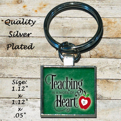 Personalized Silver Plated Keychain Teaching is a Work Of Heart Apple Best Teacher