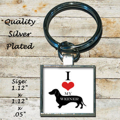 Personalized Custom Silver Plated Keychain Key Ring I Love my Weiner Dog Lover Funny Christmas Gift Best Seller