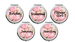 set of 6 Personalized Round Mirror Compact With Flowers Bridesmaids Wedding Party Bride Mother Flower Girl
