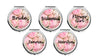 Image of set of 6 Personalized Round Mirror Compact With Flowers Bridesmaids Wedding Party Bride Mother Flower Girl