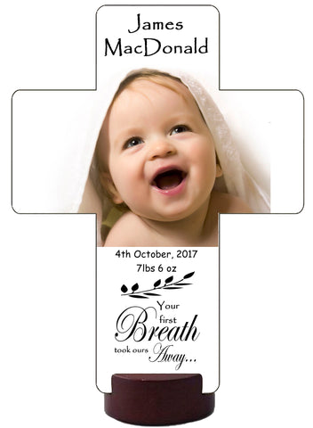 Personalized New Baby Annoucement Blessing Cross Picture Photo of your child Gift Idea
