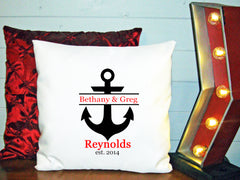 Personalized Custom Cushion Cover Throw Pillow Engagement Wedding Couple Love Anchor Beach Theme