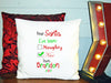 Image of Personalized Custom Cushion Cover Throw Pillow Christmas Dear Santa I've Been Naughty Nice Love ANY NAME Your Child's Name