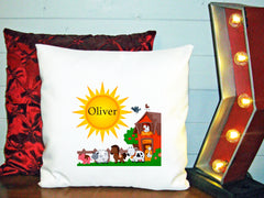 Personalized Custom Cushion Cover Throw Pillow Farm Room Little Boy or Girl ANY NAME Your Child's Name