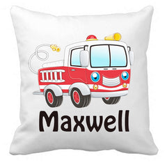 Personalized Custom Cushion Cover Throw Pillow Fire Engine Room Little Boy ANY NAME Your Child's Name