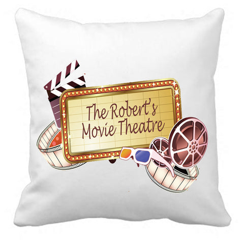 Personalized Custom Cushion Cover Throw Pillow Movie Reel Home Cinema Theater ANY NAME Your Family Name