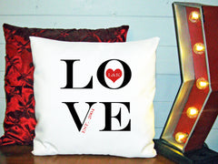 Personalized Custom Cushion Cover Throw Pillow Love Letters Heart With Couples Names Estabished Year Wedding Couple Gift