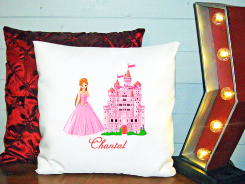 Personalized Custom Cushion Cover Throw Pillow Princess Castle Room Little Girl ANY NAME Your Child's Name
