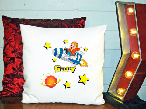 Personalized Custom Cushion Cover Throw Pillow Rocket Space Ship Little Boy ANY NAME Your Child's Name