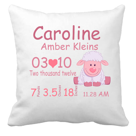 Personalized Custom Cushion Cover Throw Pillow New Baby Girl Little Lamb Baby Shower Gift Idea