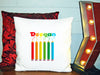 Image of Personalized Custom Cushion Cover Throw Pillow Colouring Pencils Room Little Boy or Girl ANY NAME Your Child's Name