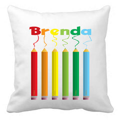 Personalized Custom Cushion Cover Throw Pillow Colouring Pencils Room Little Boy or Girl ANY NAME Your Child's Name