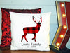 Image of Personalized Custom Cushion Cover Throw Pillow Deer Shape Christmas Plaid With Your Family Name and Year Established