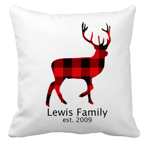 Personalized Custom Cushion Cover Throw Pillow Deer Shape Christmas Plaid With Your Family Name and Year Established