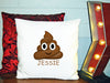 Image of Personalized Custom Cushion Cover Throw Pillow Poop Emoji So Funny Friend Gift with Any Name You Choose