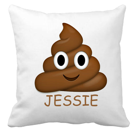 Personalized Custom Cushion Cover Throw Pillow Poop Emoji So Funny Friend Gift with Any Name You Choose