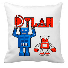 Personalized Custom Cushion Cover Throw Pillow Robots Room Little Boy ANY NAME Your Child's Name