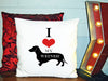 Image of Personalized Custom Cushion Cover Throw Pillow I Love My Weiner Dog So Cute Dog Lover Gift Idea