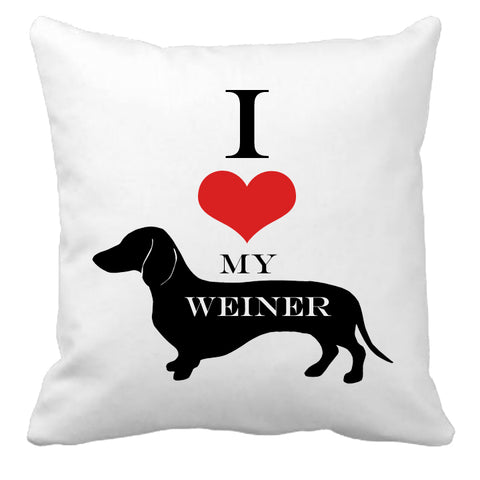Personalized Custom Cushion Cover Throw Pillow I Love My Weiner Dog So Cute Dog Lover Gift Idea
