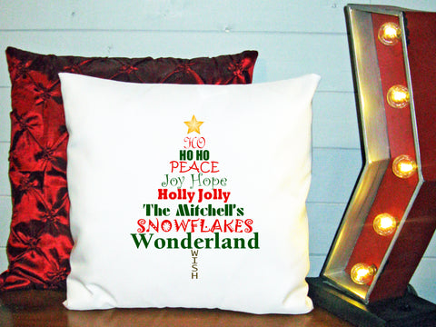 Personalized Custom Cushion Cover Throw Pillow Christmas Tree Words with Any Family Name You Choose