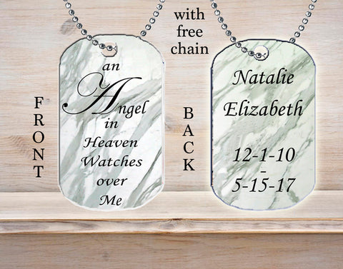 Personalized Custom Necklace Dog Tag Memorial Gift An Angel in Heaven Watches Over Me Any Name Death Loss in Remembrance