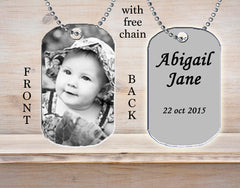 Personalized Custom Necklace Dog Tag Child Photo Picture Baby Black and White Ideal Gift Idea