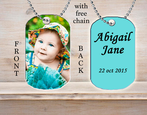 Personalized Custom Necklace Dog Tag Child Photo Picture Baby Full Colour Child Kid's Ideal Gift Idea