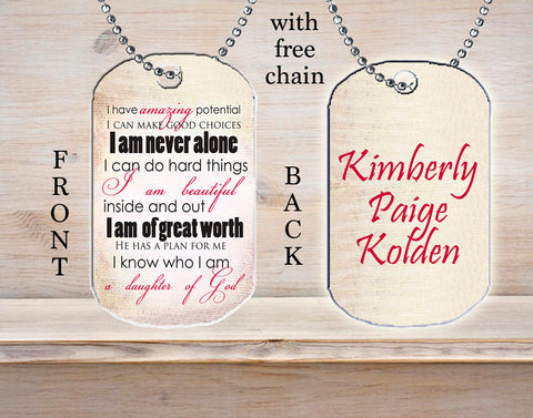 Personalized Custom Necklace Dog Tag Daughter of God Hope Strength Faith in the Lord