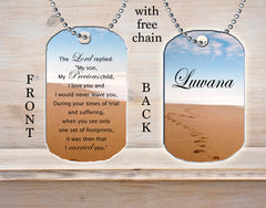 Personalized Custom Necklace Dog Tag Footprints Prayer Any Name Hope Religious Gift of Faith