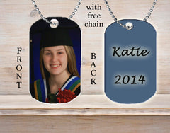 Personalized Custom Necklace Dog Tag Graduation Graduate Grad Photo Picture Proud Parents Ideal Gift Idea