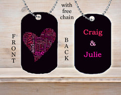 Personalized Custom Necklace Dog Tag You & Me Couple Any Names Love Heart Engagement Wedding Boyfriend Girlfriend Gift Idea