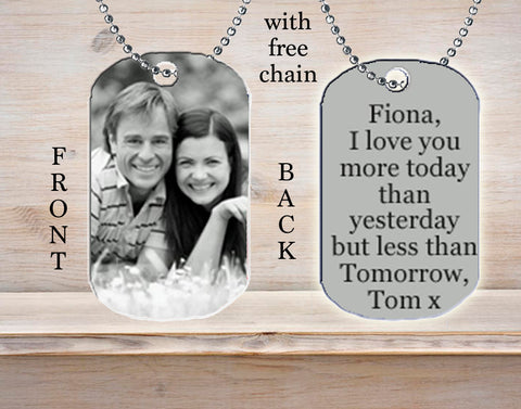 Personalized Custom Necklace Dog Tag Any Name Your Photo Picture Black and White Great Gift