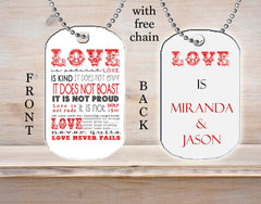 Personalized Custom Necklace Dog Tag Love is... Patient Kind Never Fails Boyfriend Girlfriend Gift