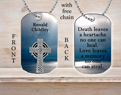 Personalized Custom Necklace Dog Tag Death Leaves a Heartache No One Can Heal, Love Leaves A Memory No One Can Steal Memorial Loss Death