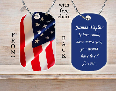 Personalized Custom Necklace Dog Tag American Flag Soldier Military Death Loss Remembrance Gift