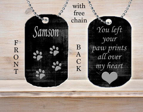 Personalized Custom Necklace Dog Tag You Left Your Paw Prints All Over My Heart Pet Dog Memorial Gift Loss Death