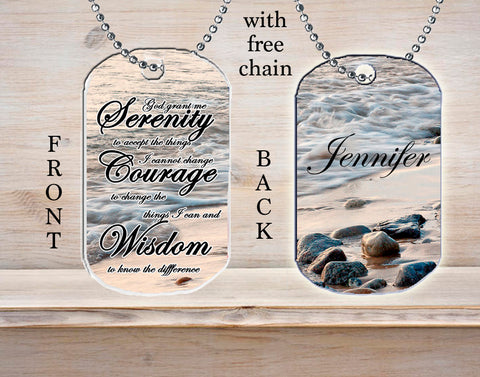 Personalized Custom Necklace Dog Tag Serenity Prayer Strength Courage Wisdom Religious Gift