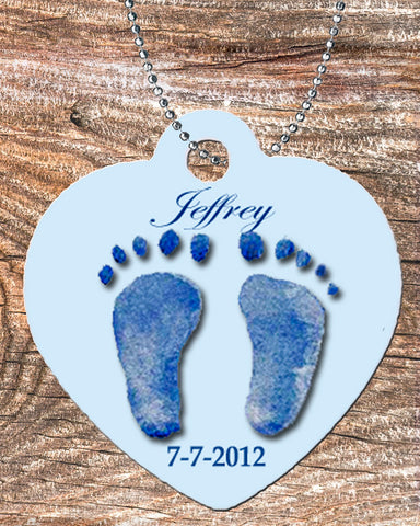 Personalized Heart Necklace Free Ball Chain Baby Foot Prints Blue