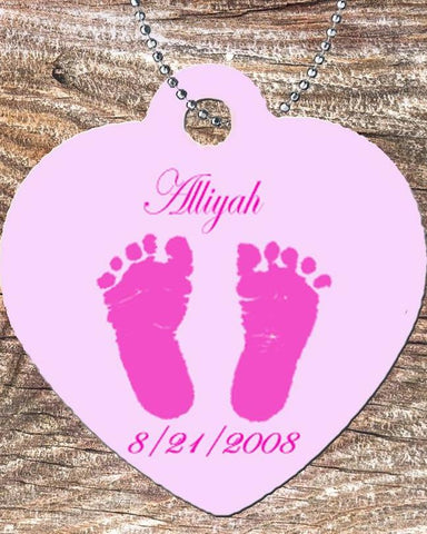 personalized Heart Necklace Free Ball Chain Baby Foot Prints Pink