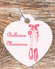 Personalized Heart Necklace Free Ball Chain Ballet Slippers Ballerina Any Name