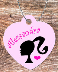 Personalized Heart Necklace Free Ball Chain Barbie Silhouette Inspired Any Name